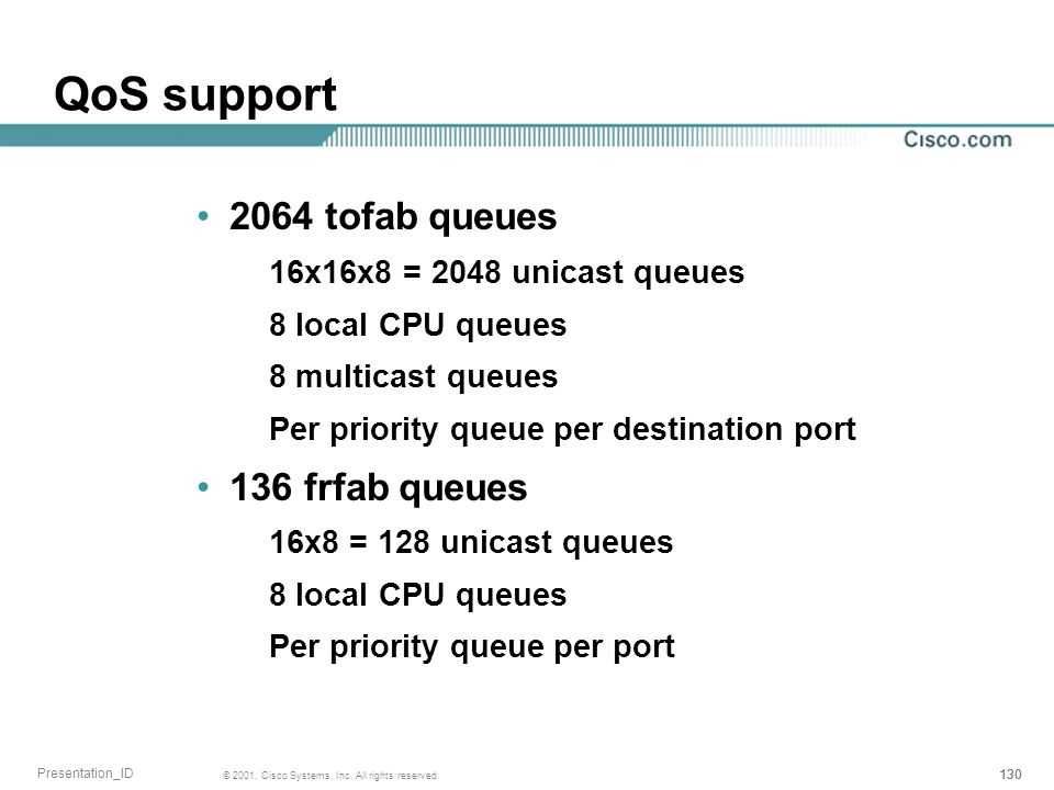 QoS support 2064 tofab queues 136 frfab queues
