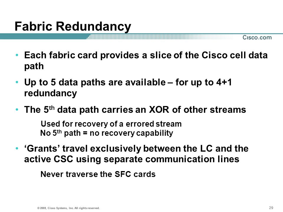 Fabric RedundancyEach fabric card provides a slice of the Cisco cell data path. Up to 5 data paths are available – for up to 4+1 redundancy.