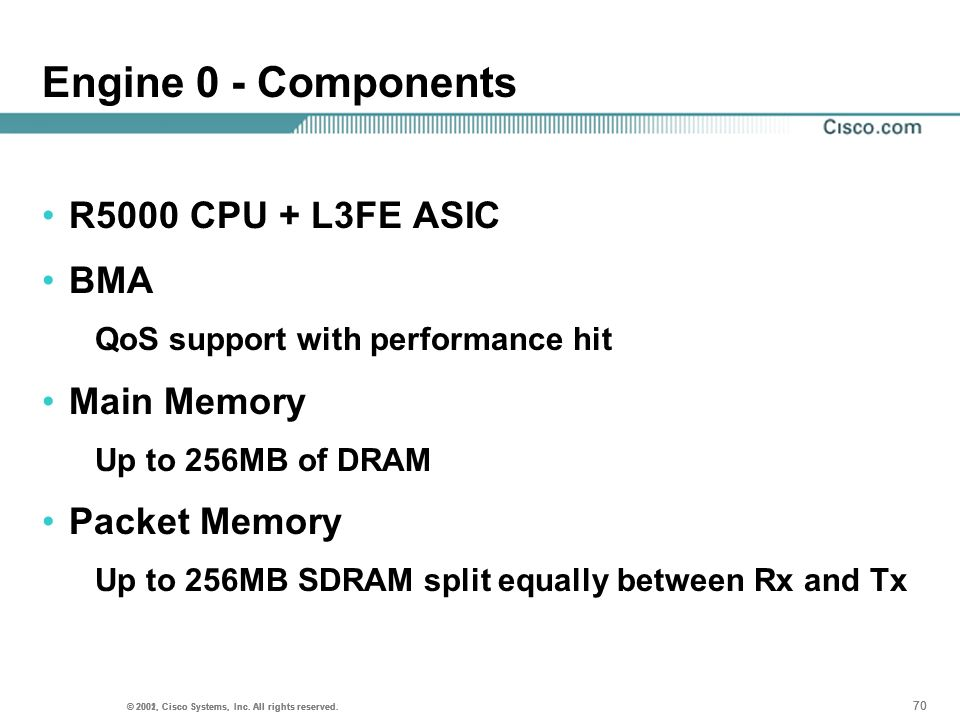 Engine 0 - Components R5000 CPU + L3FE ASIC BMA Main Memory
