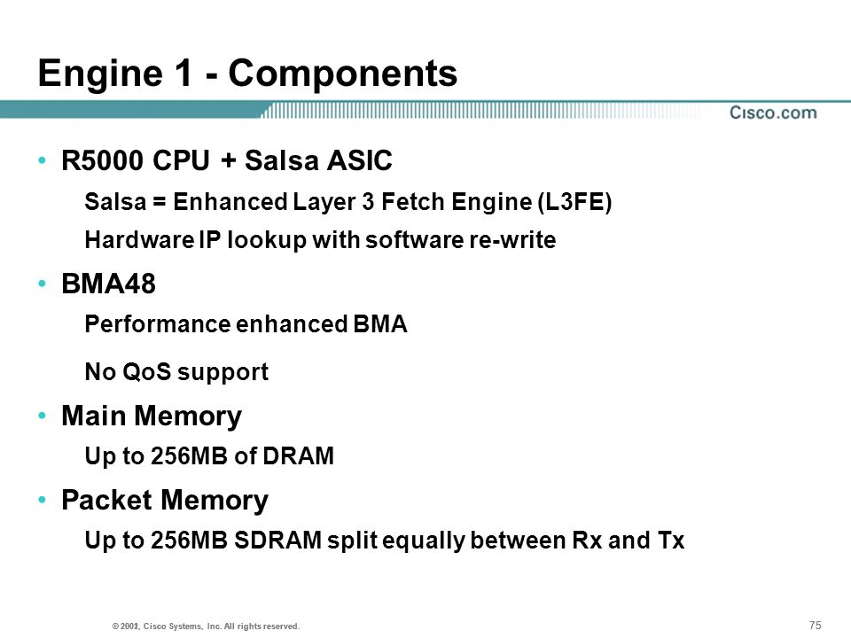 Engine 1 - Components R5000 CPU + Salsa ASIC BMA48 Main Memory