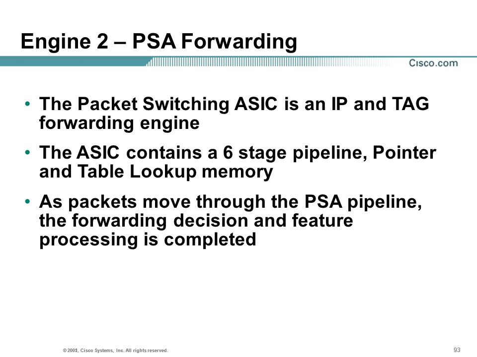 Engine 2 – PSA Forwarding