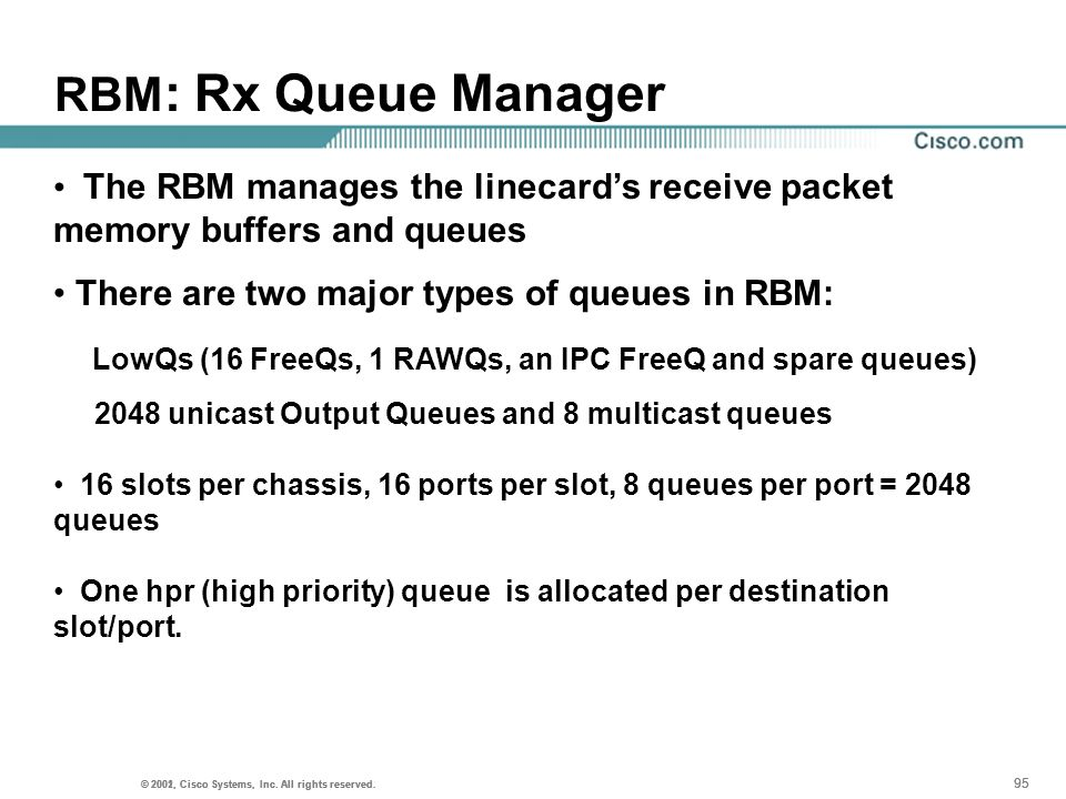 RBM: Rx Queue Manager The RBM manages the linecard's receive packet memory buffers and queues. There are two major types of queues in RBM: