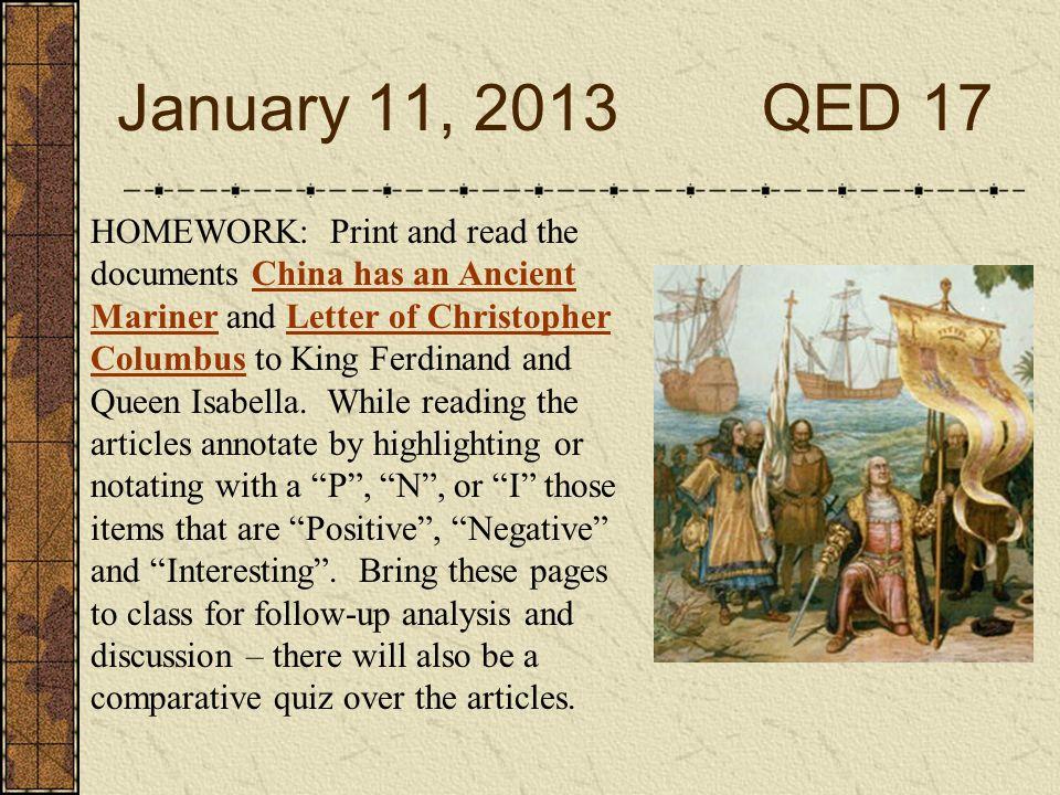 January 11, 2013 QED 17