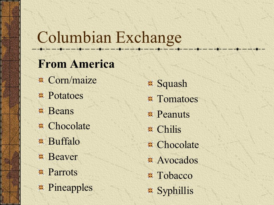 Columbian Exchange From America Corn/maize Potatoes Squash Beans