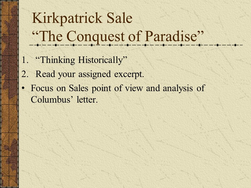 Kirkpatrick Sale The Conquest of Paradise