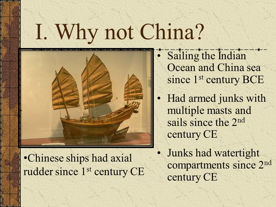 I. Why not China Sailing the Indian Ocean and China sea since 1st century BCE.