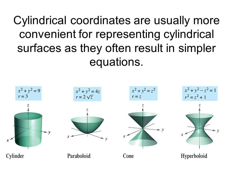 Cylindrical coordinates are usually more convenient for representing cylindrical surfaces as they often result in simpler equations.