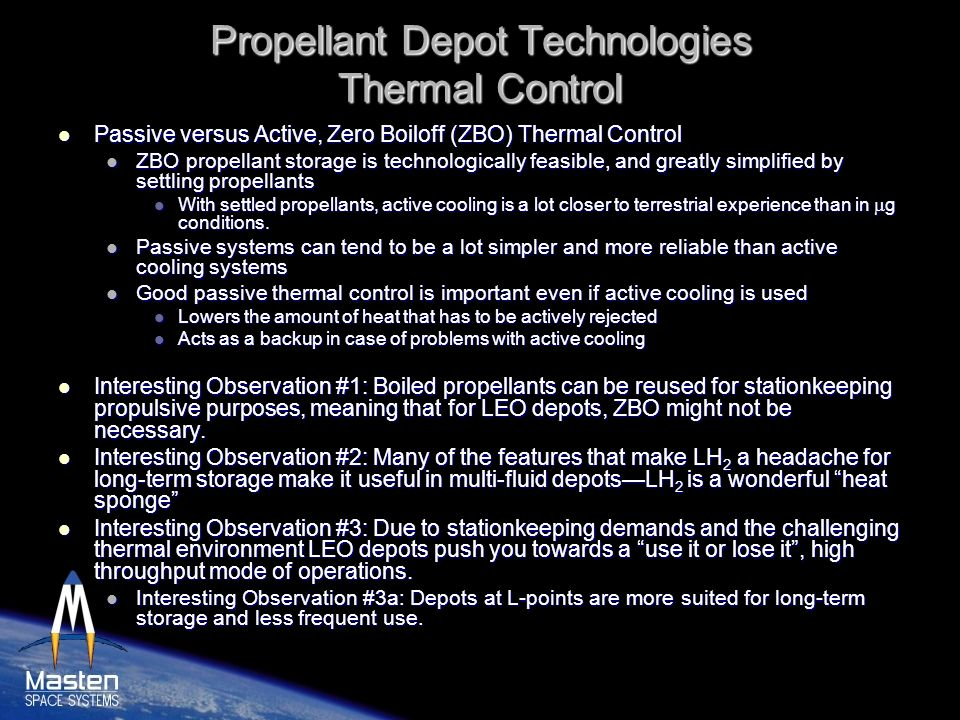 Propellant Depot Technologies Thermal Control