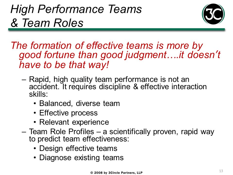 High Performance Teams & Team Roles