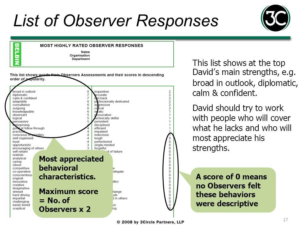 List of Observer Responses
