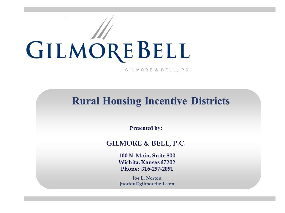 Rural Housing Incentive Districts