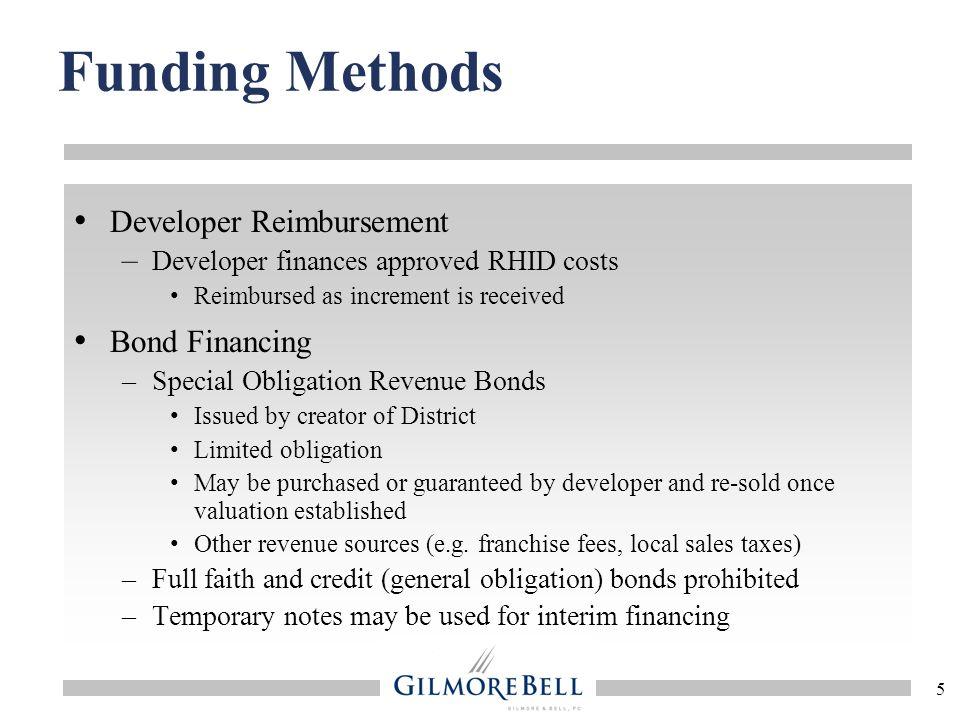 Funding Methods Developer Reimbursement Bond Financing