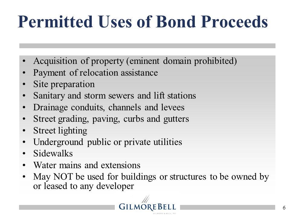 Permitted Uses of Bond Proceeds