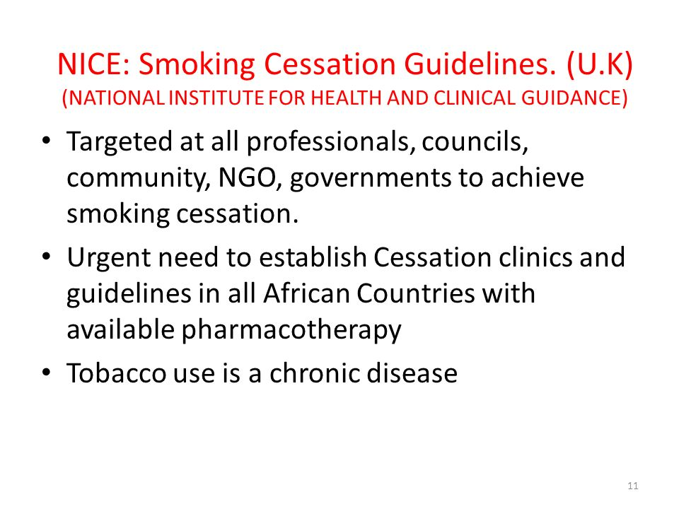 NICE: Smoking Cessation Guidelines. (U