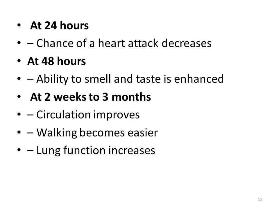 At 24 hours – Chance of a heart attack decreases. At 48 hours. – Ability to smell and taste is enhanced.