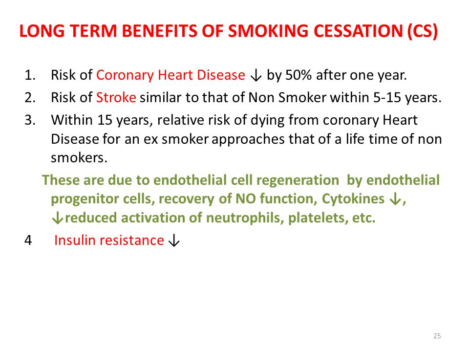 LONG TERM BENEFITS OF SMOKING CESSATION (CS)