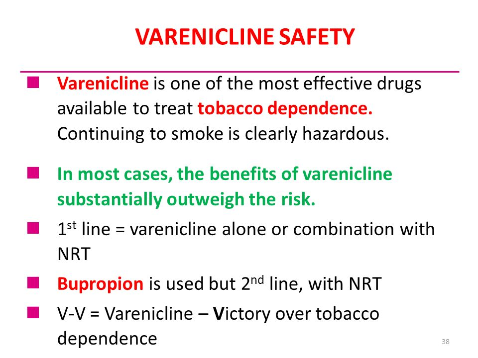 VARENICLINE SAFETY Varenicline is one of the most effective drugs available to treat tobacco dependence. Continuing to smoke is clearly hazardous.