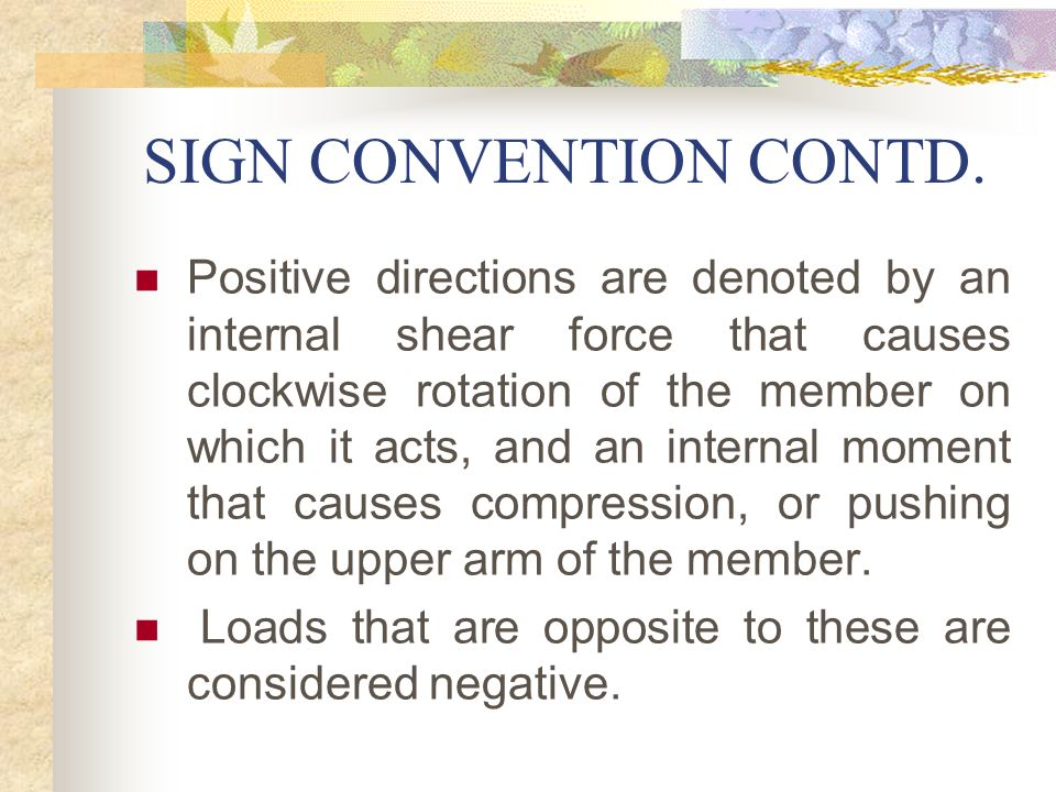 SIGN CONVENTION CONTD.