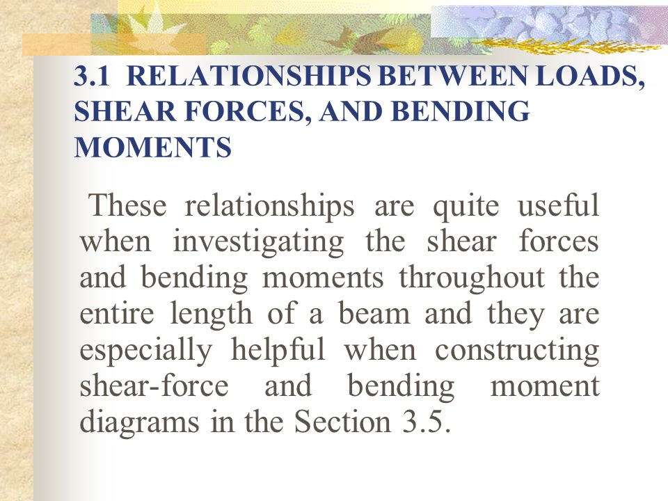3.1 RELATIONSHIPS BETWEEN LOADS, SHEAR FORCES, AND BENDING MOMENTS