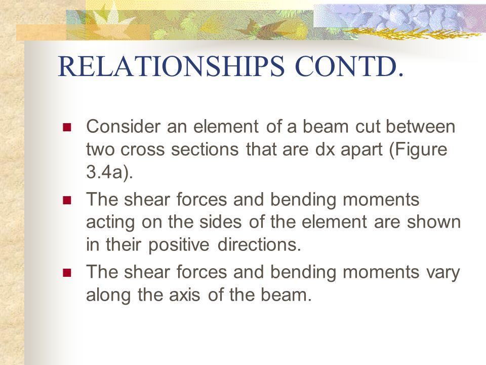 RELATIONSHIPS CONTD. Consider an element of a beam cut between two cross sections that are dx apart (Figure 3.4a).