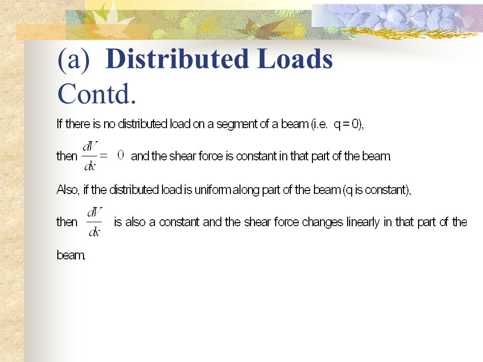 (a) Distributed Loads Contd.