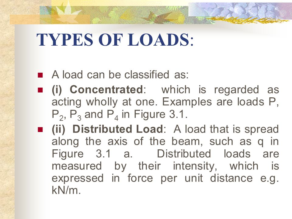 TYPES OF LOADS: A load can be classified as: