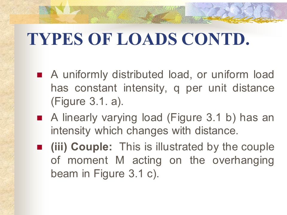 TYPES OF LOADS CONTD. A uniformly distributed load, or uniform load has constant intensity, q per unit distance (Figure 3.1. a).