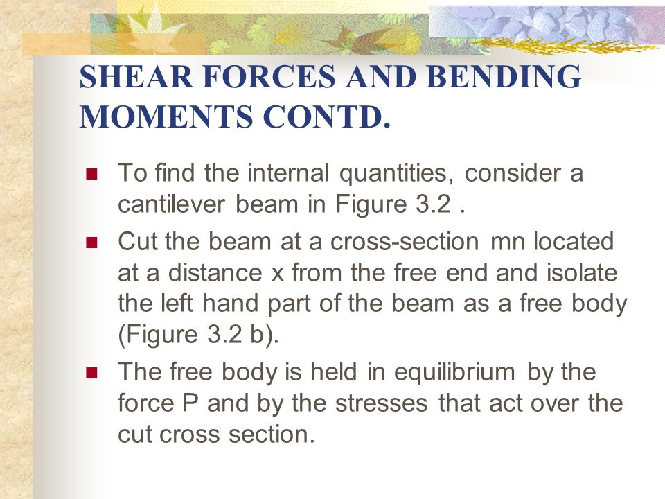 SHEAR FORCES AND BENDING MOMENTS CONTD.