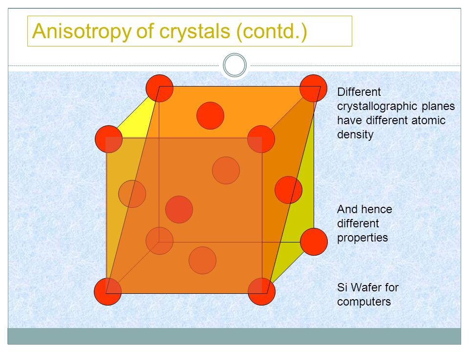 Anisotropy of crystals (contd.)