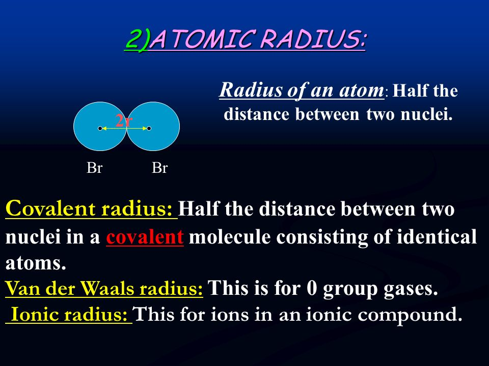 Radius of an atom: Half the distance between two nuclei.
