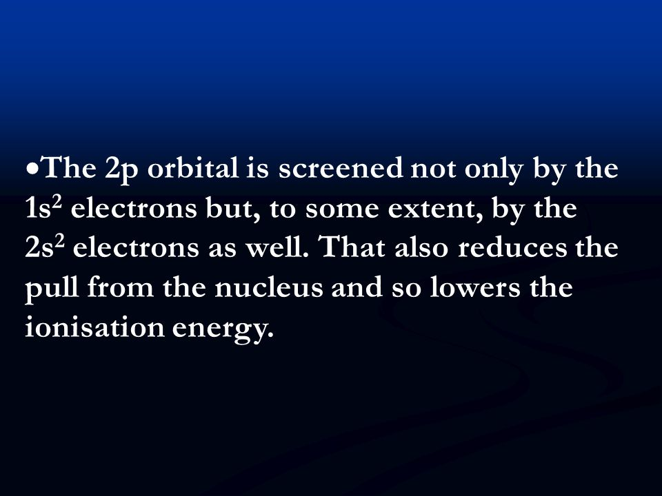 The 2p orbital is screened not only by the 1s2 electrons but, to some extent, by the 2s2 electrons as well.