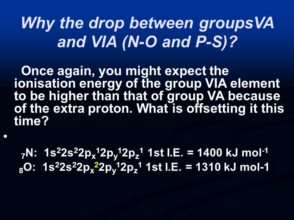 Why the drop between groupsVA and VIA (N-O and P-S)