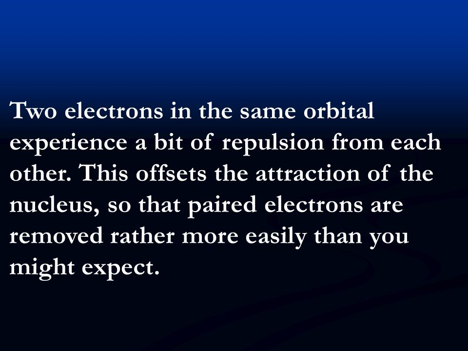 Two electrons in the same orbital experience a bit of repulsion from each other.