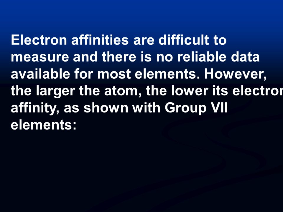 Electron affinities are difficult to measure and there is no reliable data available for most elements. However, the larger the atom, the lower its electron affinity, as shown with Group VII elements: