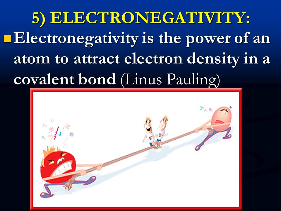 5) ELECTRONEGATIVITY: Electronegativity is the power of an atom to attract electron density in a covalent bond (Linus Pauling)
