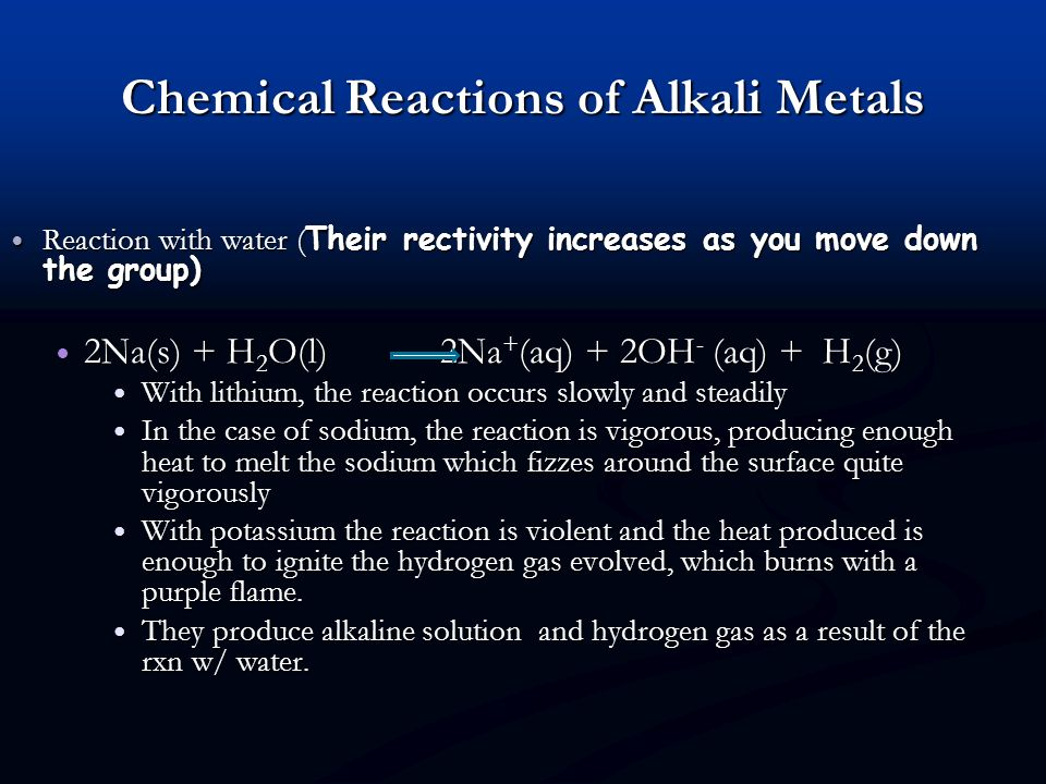 Chemical Reactions of Alkali Metals