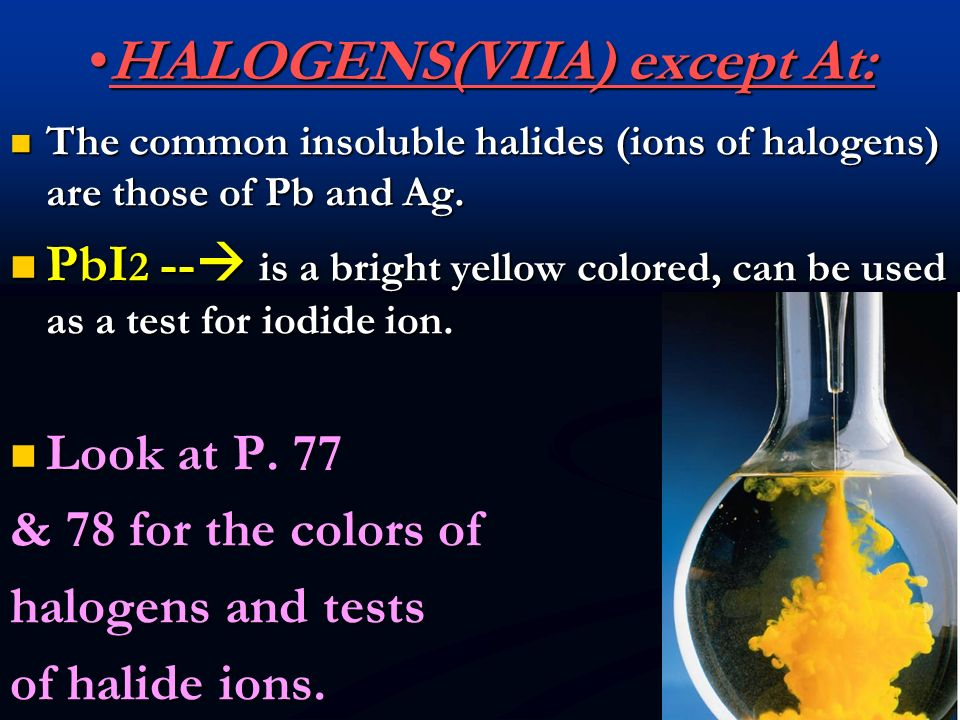 HALOGENS(VIIA) except At: