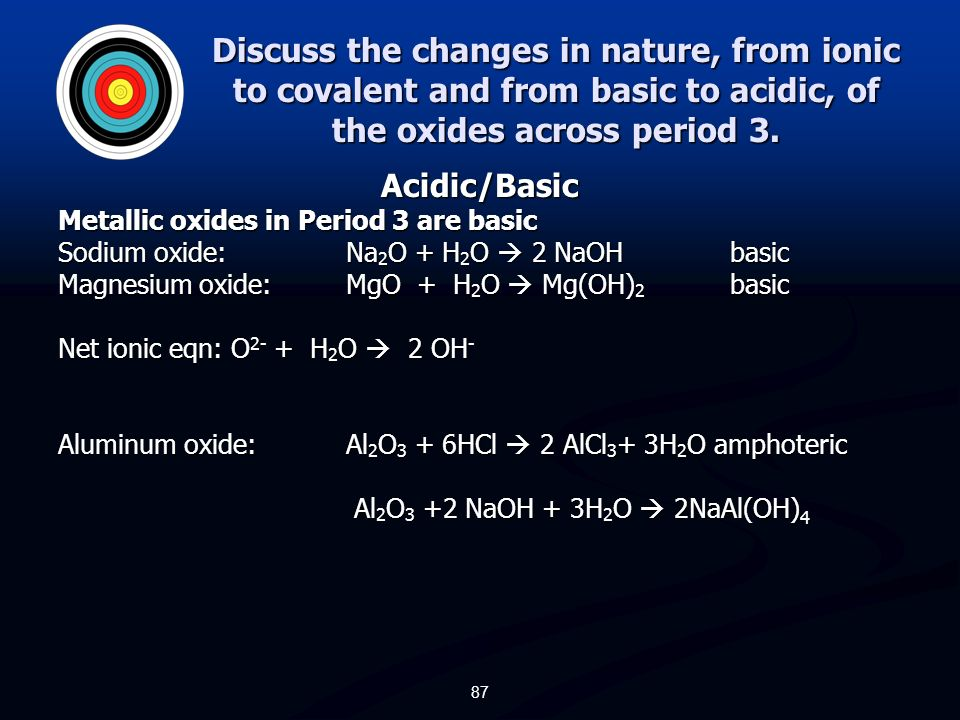 Discuss the changes in nature, from ionic to covalent and from basic to acidic, of the oxides across period 3.