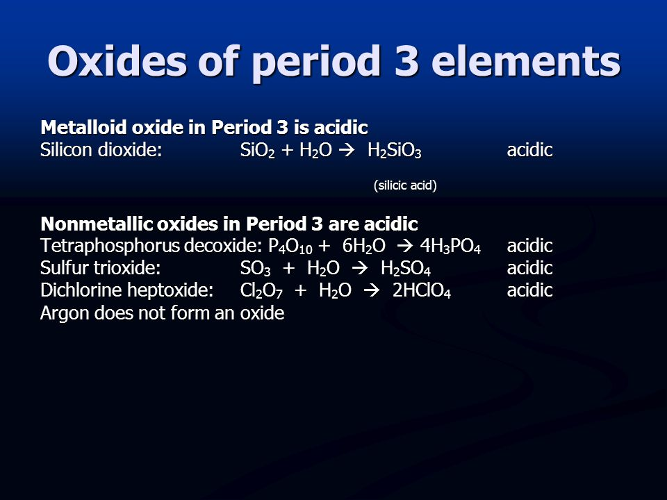 Oxides of period 3 elements
