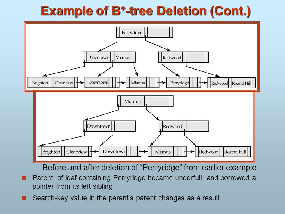 Example of B+-tree Deletion (Cont.)