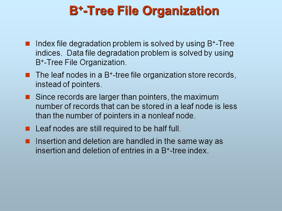 B+-Tree File Organization
