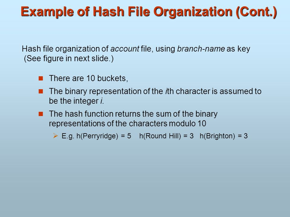 Example of Hash File Organization (Cont.)