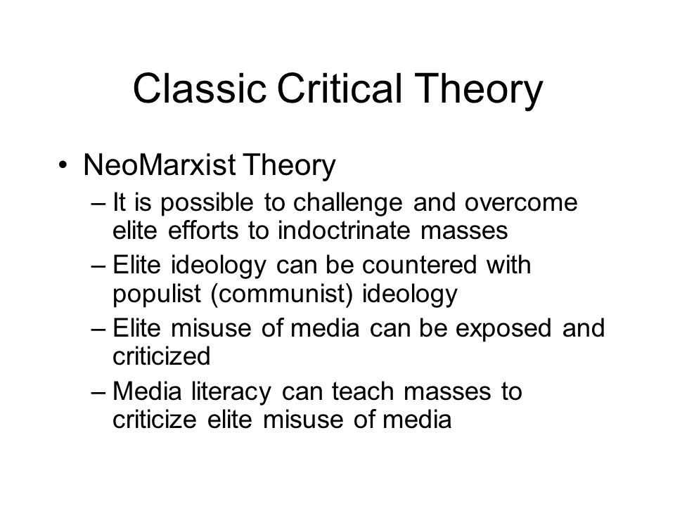 Classic Critical Theory