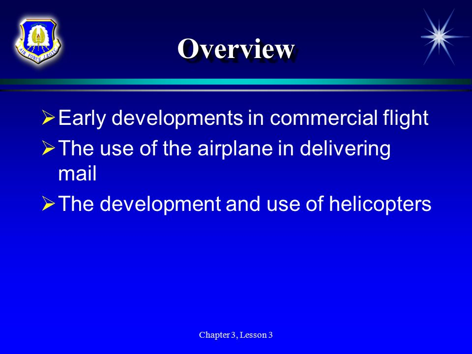 Overview Early developments in commercial flight