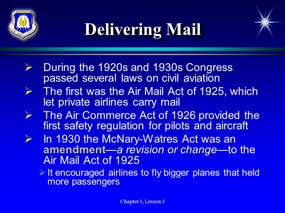 Delivering Mail During the 1920s and 1930s Congress passed several laws on civil aviation.