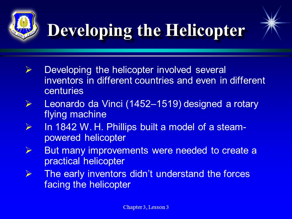 Developing the Helicopter