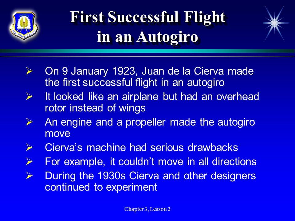 First Successful Flight in an Autogiro