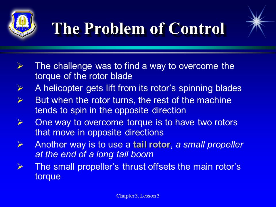 The Problem of Control The challenge was to find a way to overcome the torque of the rotor blade.