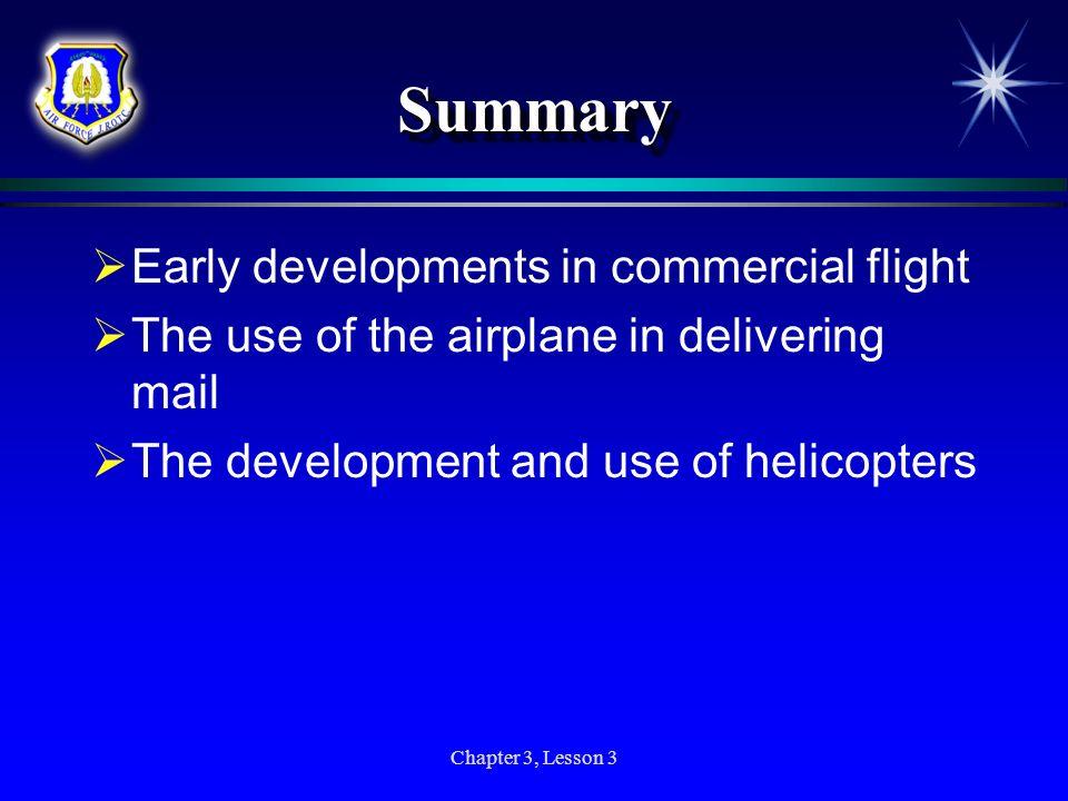 Summary Early developments in commercial flight