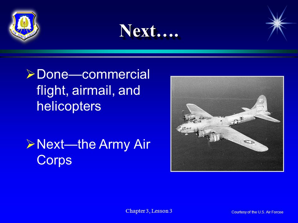 Next…. Done—commercial flight, airmail, and helicopters